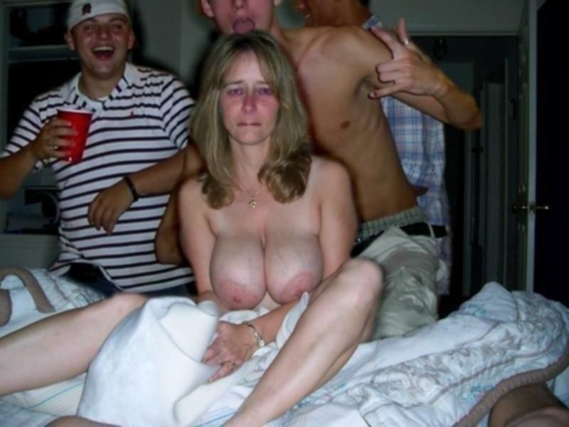 Mature woman groped drunk