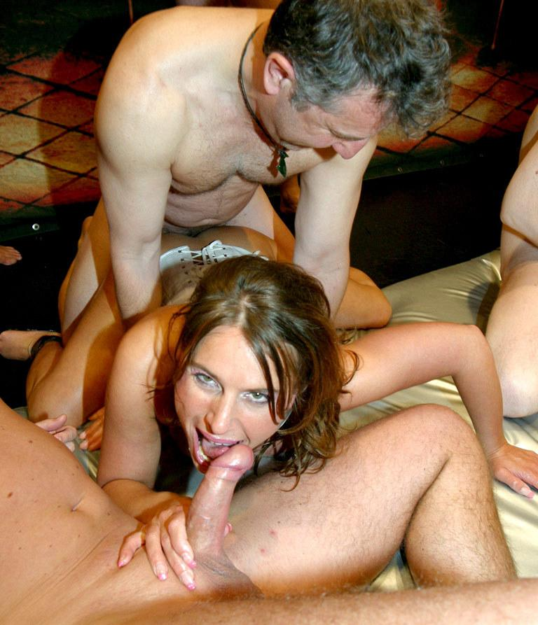 Mature amateur swinger gangbang can